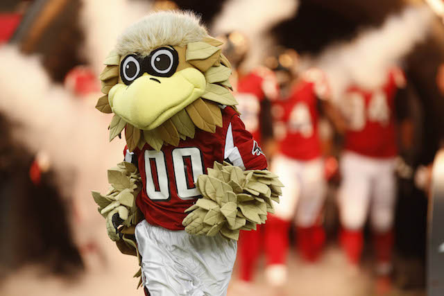 Freddie the Falcon sent out an ill-advised tweet on Sunday. (USATSI)