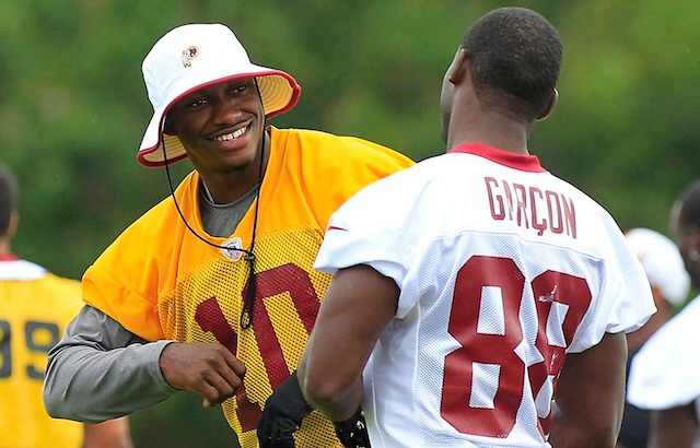 RG3 might not be smiling the next time he talks to Pierre Garcon. (USATSI)