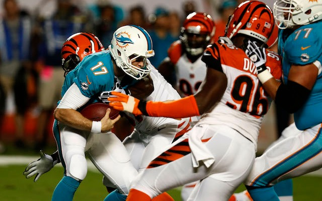 Geno Atkins sacked Ryan Tannehill before being injured in the second quarter. (USATSI)
