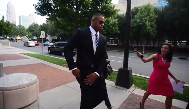 Greg Hardy spent his Tuesday in court. (YouTube/Charlotte Observer)