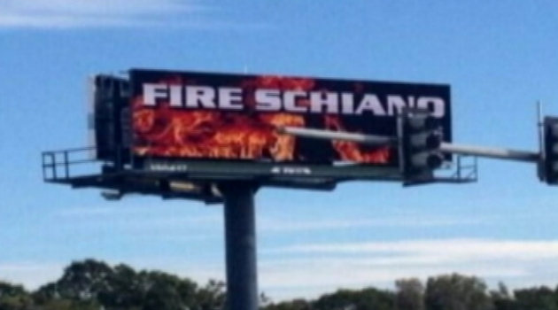 A 'Fire Schiano' billboard has cropped up in Tampa Bay.