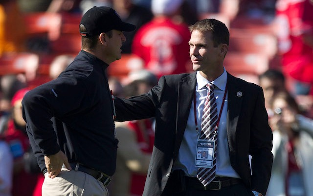 If the 49ers only keep one of these guys, John Madden says it should be Jim Harbaugh. (USATSI)
