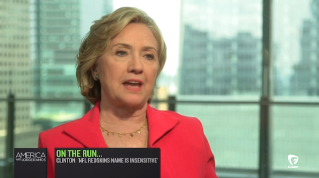 Hillary Clinton says the Redskins name is 'insensitive.' (Fusion TV)
