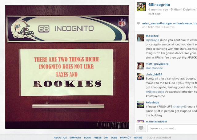 The sign on Richie Incognito's locker is clear: Incognito does not like taxes and rookies. (Instagram)
