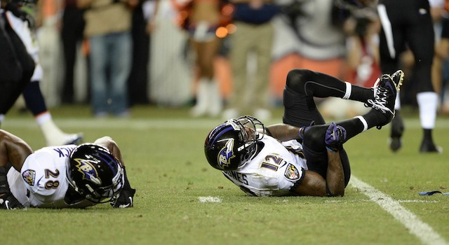 Jacoby Jones (12) might have suffered a second injury in a brawl on Monday. (USATSI)