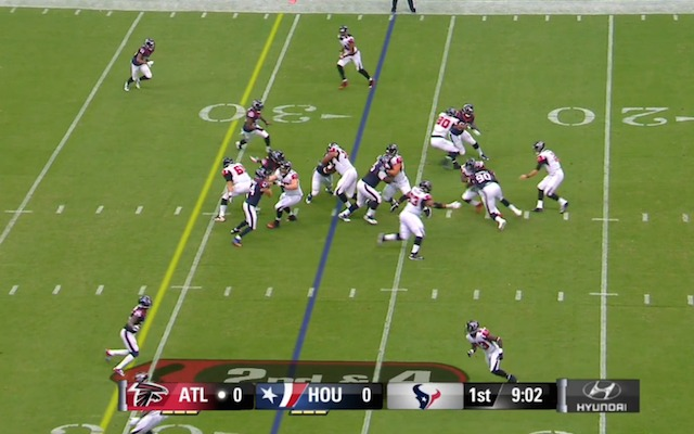 The Falcons forgot to block Jadeveon Clowney [90]. (KTRK)