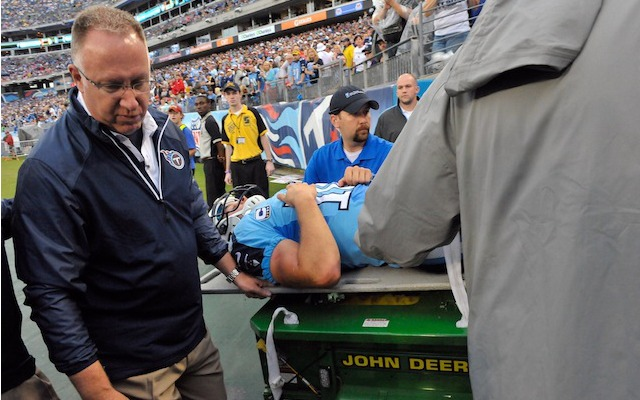 Jake Locker was carted off the field on Sunday with an injury diagnosed as a sprained hip. (USATSI)