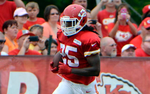 Jamaal Charles apparently injured his foot during a moving mishap. (USATSI)