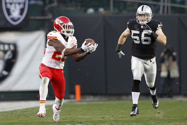 The Raiders couldn't catch Jamaal Charles. Can Charles catch Peyton Manning in the MVP race? (USATSI)