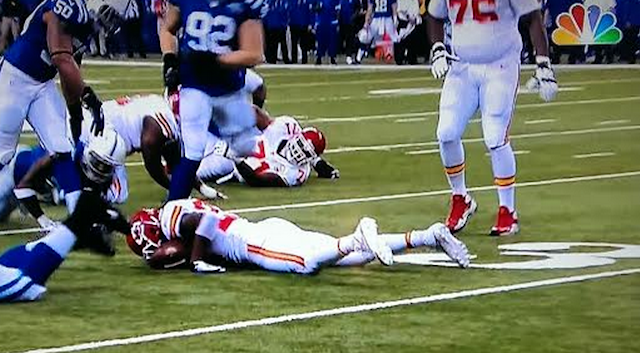 Jamaal Charles had to be helped off the field after this play. (NBC/NFL)