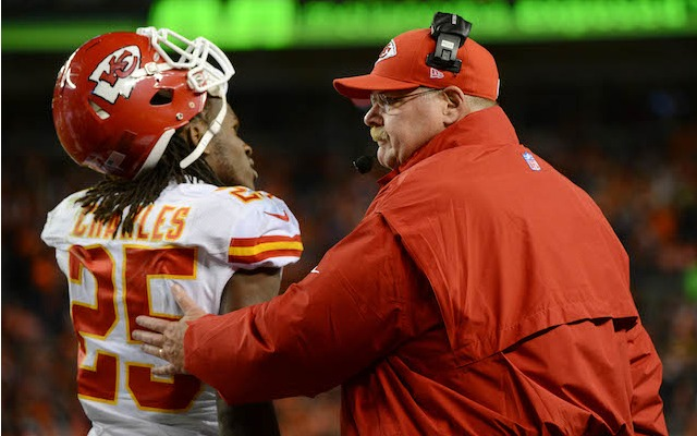 Just to be safe, Jamaal Charles should spend Sunday's game standing next to Andy Reid. (USATSI)