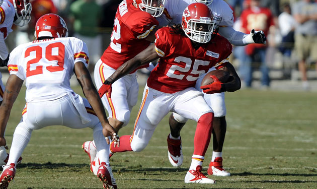 Jamaal Charles was carted off with an unknown injury Monday.
