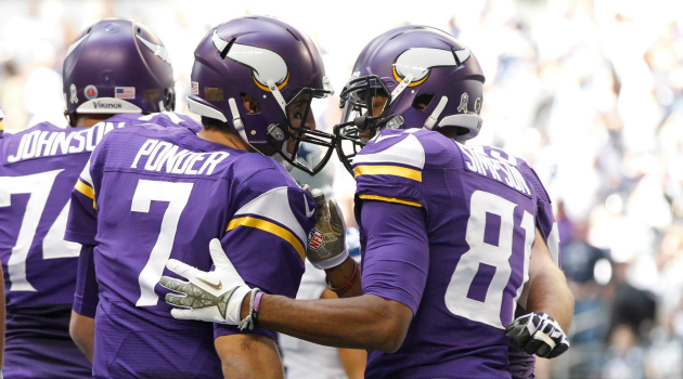 Vikings wide receiver Jerome Simpson has 33 catches for 491 yards this season.