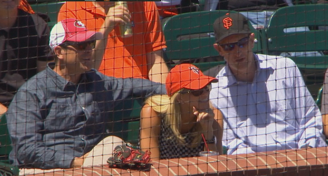 Jim Harbaugh brought his lucky glove to the Giants game on Thursday. (Twitter/@CSNGiants)