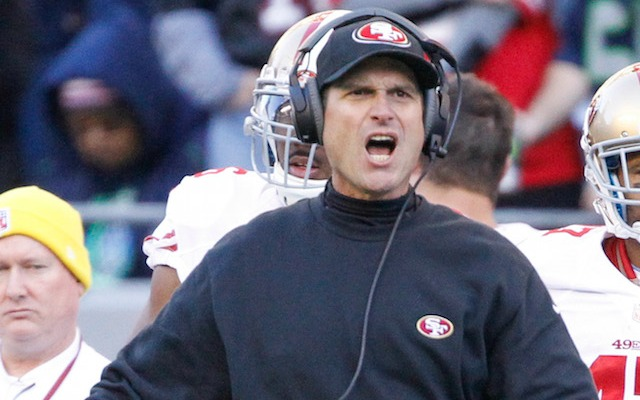 This would probably be Jim Harbaugh's reaction if he lost to a kid in laser tag. (USATSI)