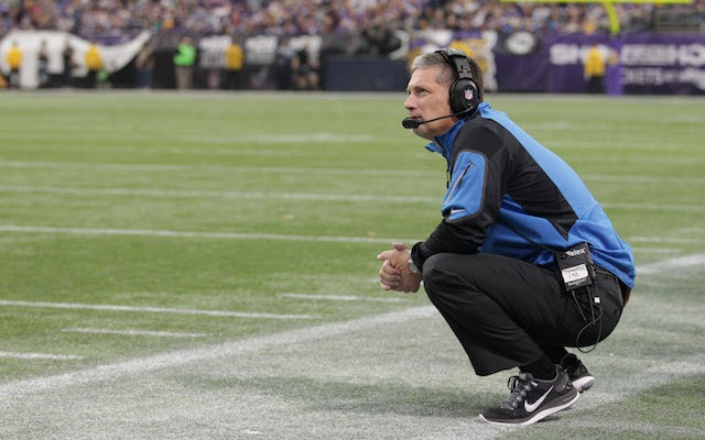Jim Schwartz will be crouching on the sidelines in Buffalo in 2014. (USATSI)