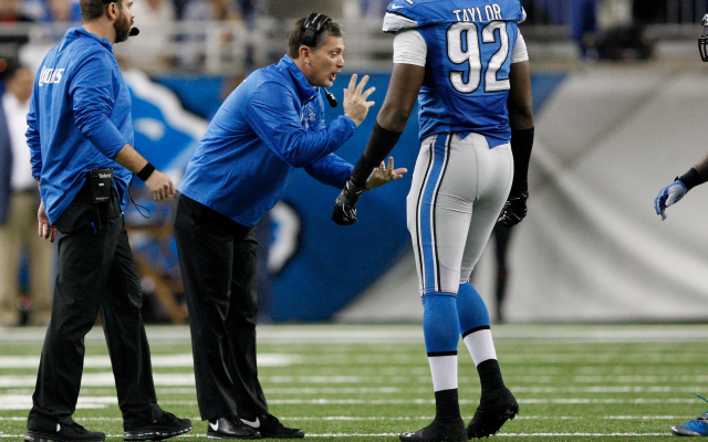 Jim Schwartz claims he wasn't yelling at fans on Sunday.