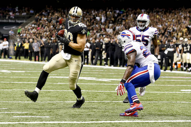 Jimmy Graham scored two touchdowns on one foot against the Bills in Week 8. (USATSI)