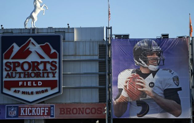 A Joe Flacco banner outside the Broncos stadium?