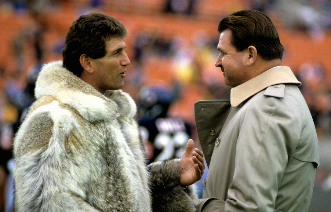 Joe Theismann's fur coat meet Mike Ditka's trench coat.