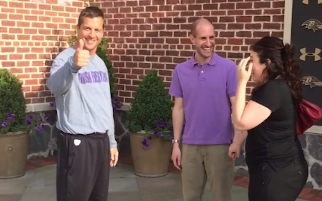 John Harbaugh approves of this wedding proposal. (YouTube)