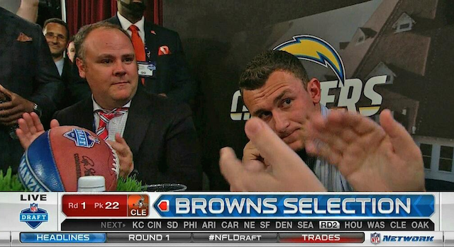 Does Johnny Manziel look disappointed or relieved that the Browns drafted him? (NFL Network)