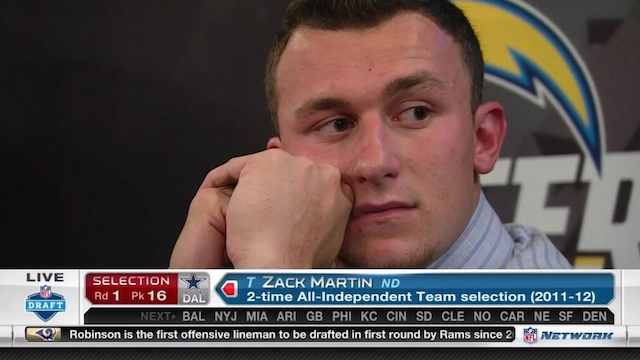 Johnny Manziel's face after the Cowboys passed on him says it all. (NFL Network)