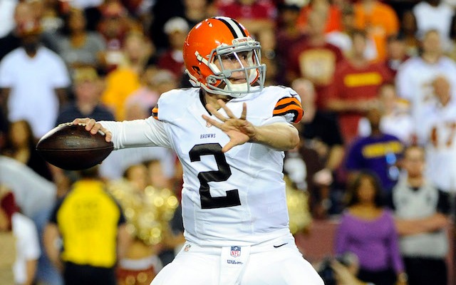 Johnny Manziel's first preseason touchdown pass was an eight-yarder to Dion Lewis. (USATSI)