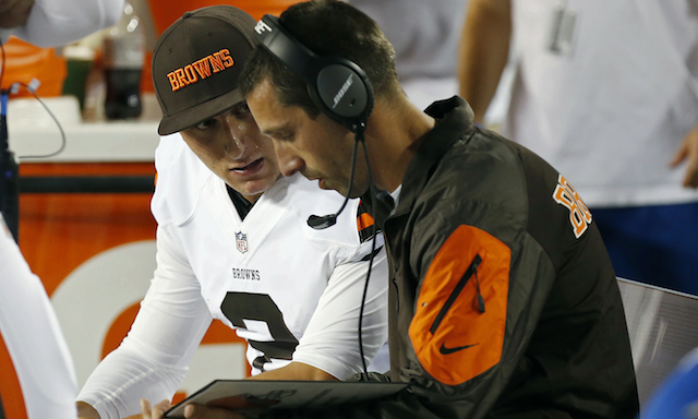 Johnny Manziel has to wait on the bench ... for now.
