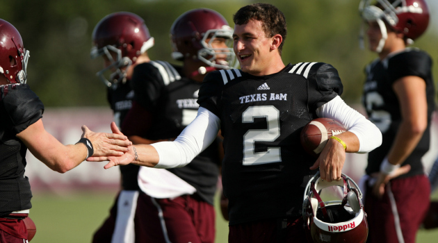 Johnny Manziel measured under 6 feet tall at the NFL combine Friday.