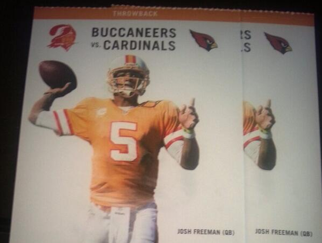 Josh Freeman isn't playing and the Buccaneers aren't wearing those jerseys. (Twitter)