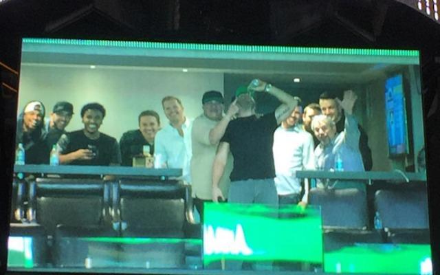 VIDEO: Julian Edelman shows up on Celtics Jumbotron, chugs