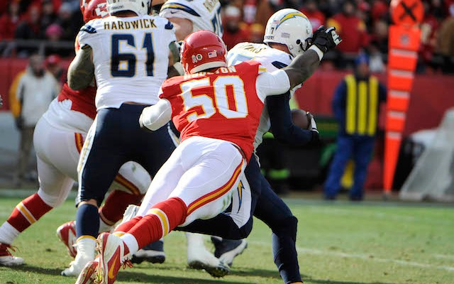 Chiefs linebacker Justin Houston dislocated his elbow against the Chargers. (USATSI)