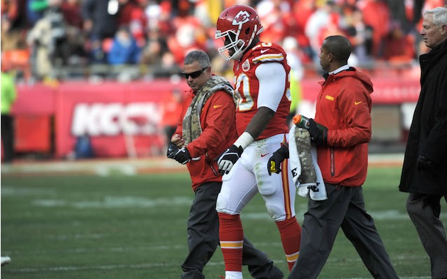 An injured elbow will keep Justin Houston out of his second straight game. (USATSI)
