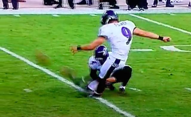 Ravens Kicker Gets Eaten By A Sink Hole At Levi S Field Cbssports Com