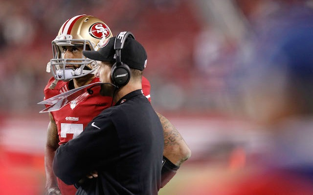 It's been a rough year for Jim Harbaugh and Colin Kaepernick. (USATSI)
