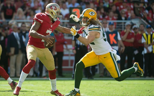 Colin Kaepernick had a few issues with Clay Matthews on Sunday. (USATSI)