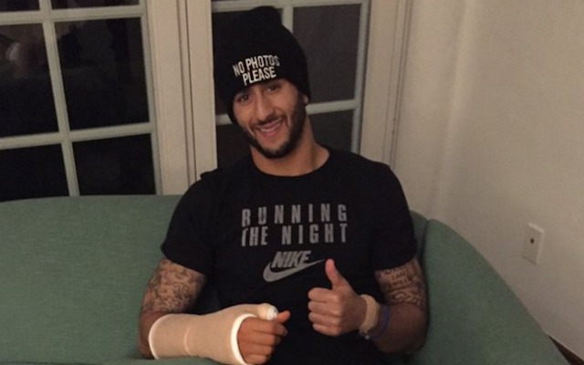 Colin Kaepernick was rehabbing when he found out Chip Kelly was his new coach. (Twitter/XAMSports)