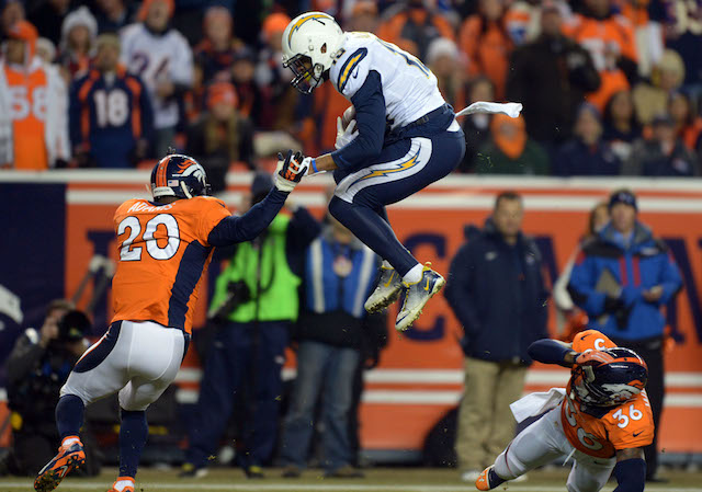 Broncos defender Kayvon Webster made a good hurdle for Keenan Allen. (USATSI)