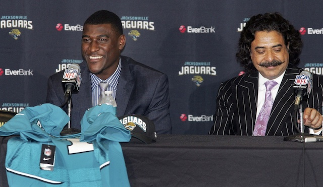 Jags owner Shad Khan [right] wants to see Justin Blackmon [left] get help. (USATSI)