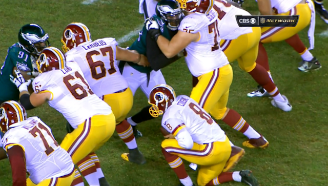 Not even Kirk Cousins knows why he took a knee here. (CBS/NFL Network)