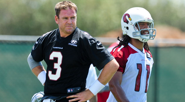 Larry Fitzgerald is very happy to have Carson Palmer in Arizona. (USATSI)