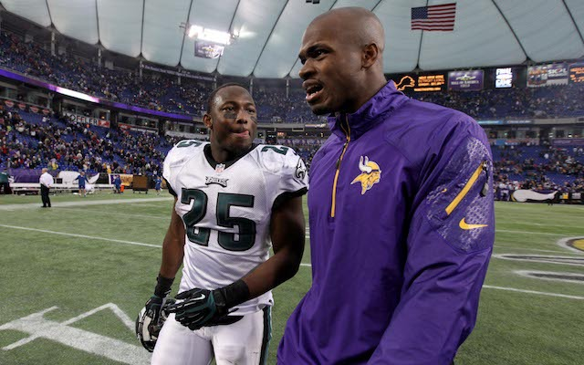 LeSean McCoy is thinking, 'Hey Adrian, you would've given me the ball more than eight times, right?' (USATSI)