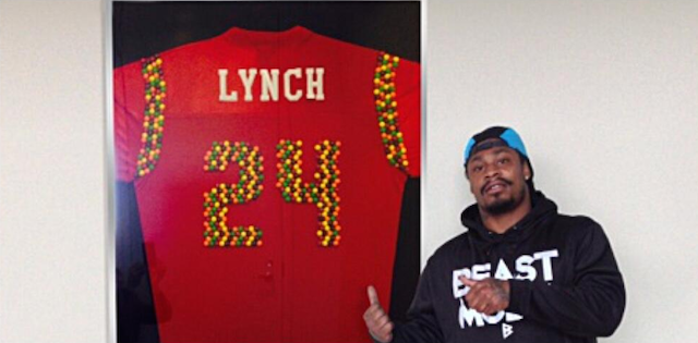 Marshawn Lynch is already showing off his new Skittles jersey. (Twitter/@MoneyLynch)