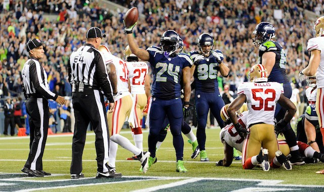 Marshawn Lynch spent a lot of time in the end zone on Sunday. (USATSI)
