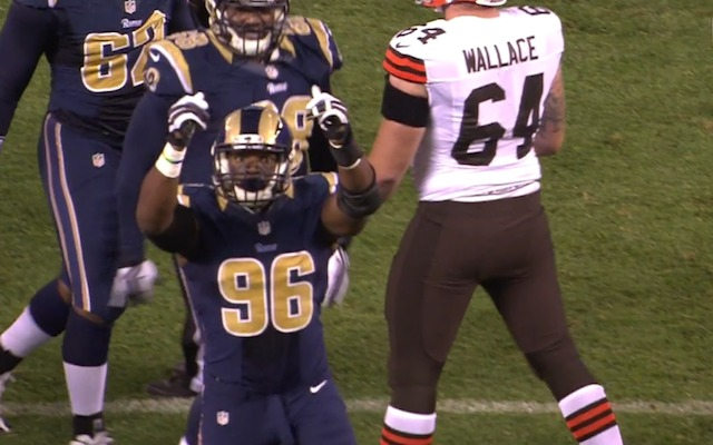 Michael Sam showed off his money fingers after sacking Johnny Manziel. (WKYC-TV)