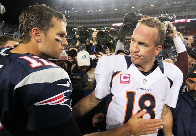 Tom Brady and Peyton Manning will have their 15th postgame handshake in the AFC title game. (USATSI)