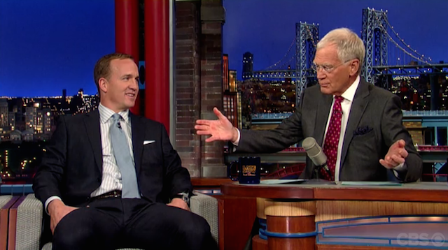 Peyton Manning spent some time with David Letterman on Monday. (CBS)