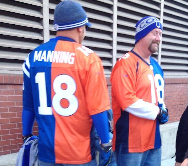 Some fans are wearing orange, blue and white to show their support for Peyton Manning. (Twitter)