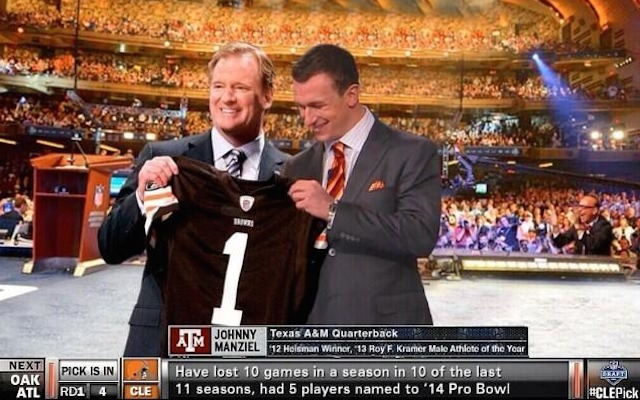 Sorry Browns fans, this isn't going to happen on draft day. (Twitter/@Sonny_D_)